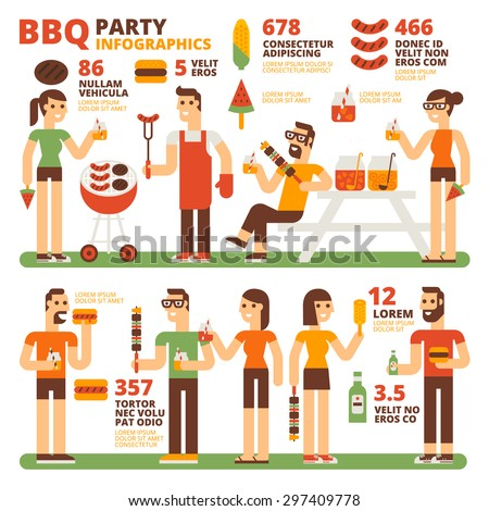 BBQ Party Infographics - stock vector