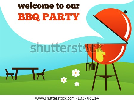 BBQ Party invitation - stock vector
