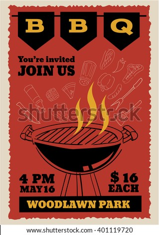 bbq party invitation flyer outline doodle stock vector royalty free