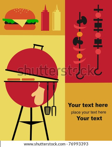 Bbq Party Invitation Template Stock Vector 76993393 - Shutterstock