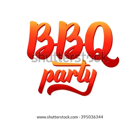 BBQ party typographic logo vector design template. Barbecue text hand lettering label isolated on white