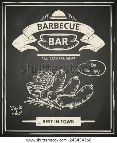 BBQ poster stylized like sketch drawing on the chalkboard.Vector illustration. - stock vector