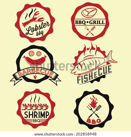 BBQ seafood steak labels, icons, badges template set - stock vector