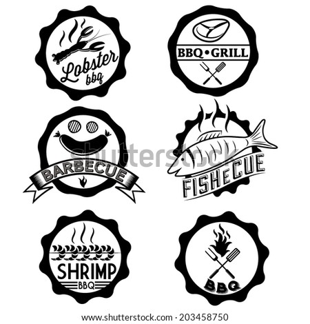 BBQ, seafood, steak labels, icons, badges template set - stock vector