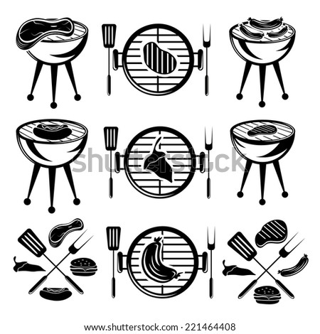 bbq set of meat,hot dog and burger - stock vector