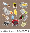 bbq tools stickers - stock photo