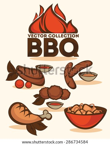 BBQ vector collection of emblems and illustrations - stock vector