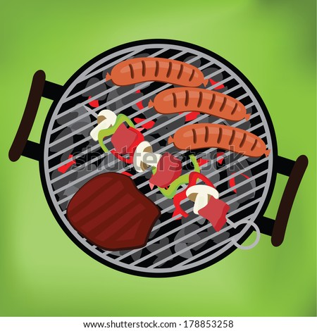 BBQ with steak, sausages and shish kebab on green background, vector illustration - stock vector