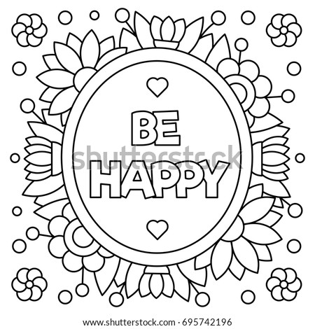 Be Happy Coloring Page Vector Illustration Stock Vector 695742196 ...