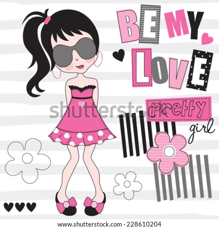 be my love pretty girl vector illustration - stock vector