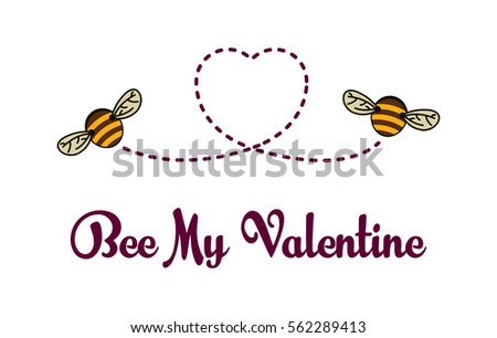 Be My Valentine Card Bees Flying Vector 562289413 Shutterstock – Bee My Valentine Card