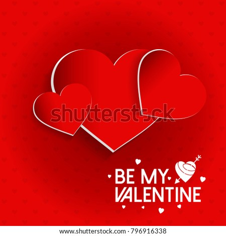 Be my Valentine's with pattern background and hearts red