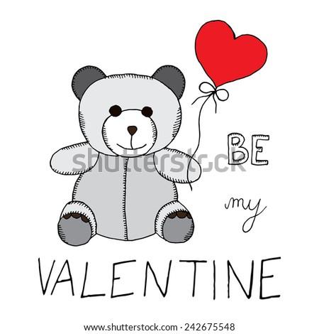 Be my Valentine teddy bear  - stock vector