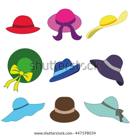 Beach accessories summer hats collection. Summer hats vector set. Summer hats and fashion beach travel hats. Beautiful tropical lifestyle people beach accessories. ladies hat icons set. - stock vector