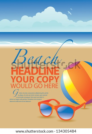 Beach ad marketing poster template. EPS 8 vector, grouped for easy editing. No open shapes or paths. - stock vector
