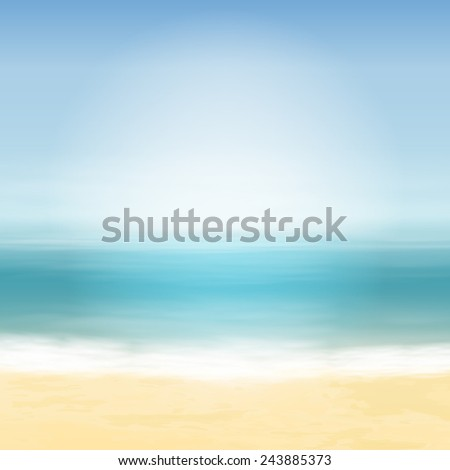 Beach and blue sea. Tropical background. EPS10 vector.