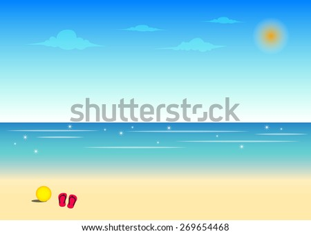 Beach and blue sky background for travel in summer concept,vector illustration - stock vector