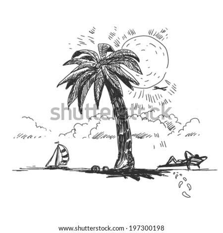 beach and palm tree, doodle illustration - stock vector