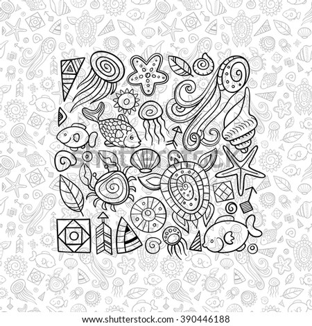 beach and sea doodles, holiday at the seaside - stock vector
