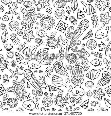 beach and sea doodles, vector seamless background - stock vector
