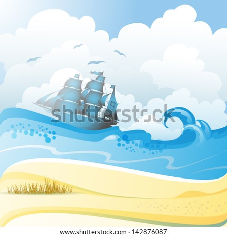 Beach and sea with ship