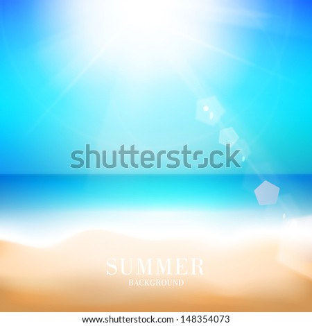 Beach and tropical sea. Vector illustration.