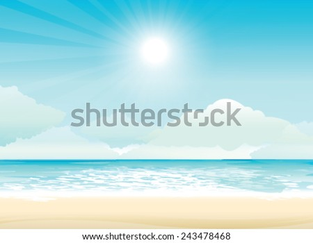 Beach and tropical sea with bright sun - stock vector
