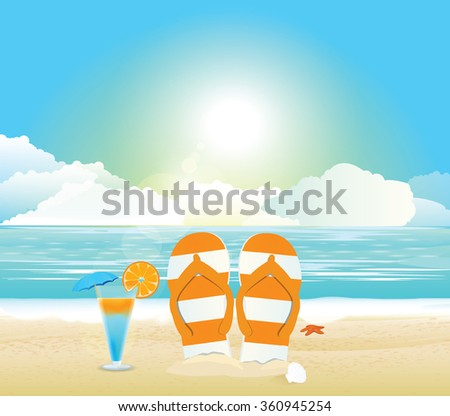 Beach and tropical sea with bright sun. - stock vector