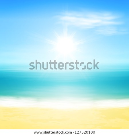 Beach and tropical sea with bright sun. EPS10 vector. - stock vector
