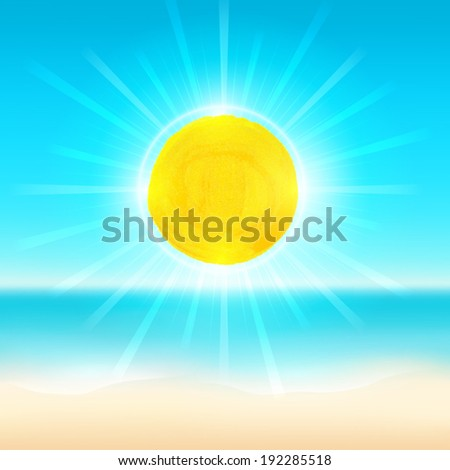 Beach and tropical sea with bright sun. Vector background.  - stock vector
