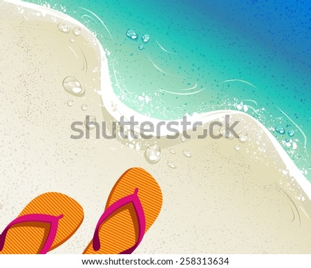 Beach and tropical sea with colorful flip flops, sand as background for summer time design. EPS10 vector file organized in layers for easy editing. - stock vector