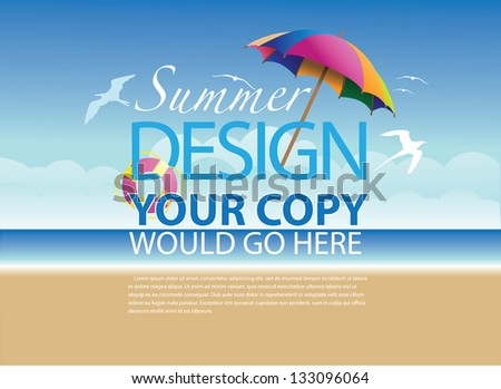 Beach Background Template. EPS 8 vector, grouped for easy editing. No open shapes or paths. - stock vector