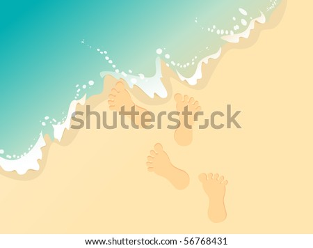 Beach background with footprints and waves