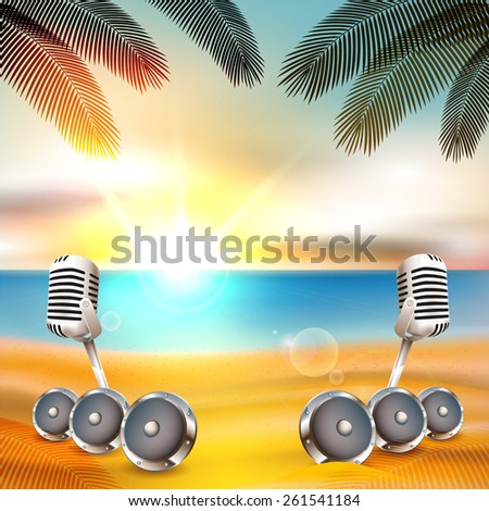 Beach background with music instruments under palm tree with sunset - Vector with place for your text - stock vector