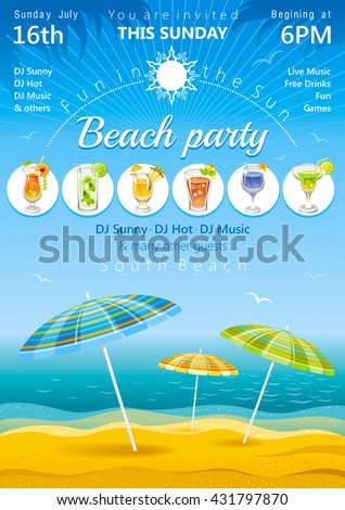 Beach background with umbrella and tropical cocktails - stock vector