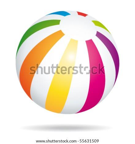 Beach ball bouncing lll. Vector illustration. - stock vector