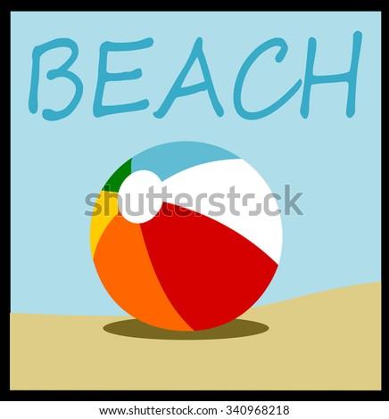 beach ball design with sand and sky - stock vector