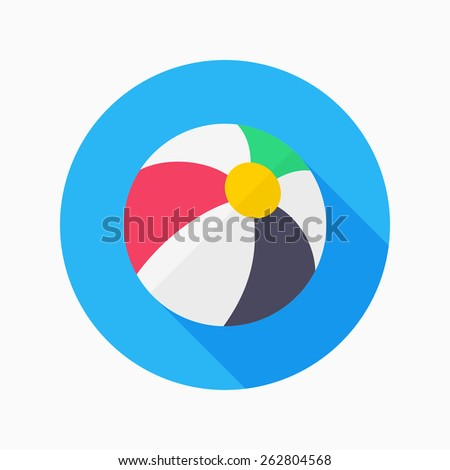 beach ball flat icon with long shadow on blue circle background , vector illustration , eps10 - stock vector