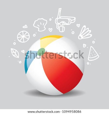 beach ball icon traveling icon travel stock vector 1094958086
