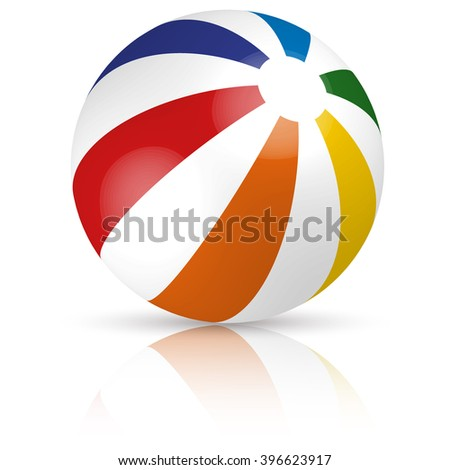 beach ball in different colors with reflection and shadow