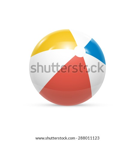 Beach ball Isolated on white background Vector illustration