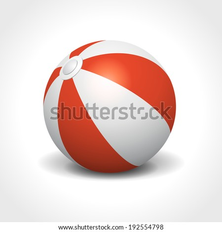 Beach ball isolated on white summer holidays vector illustration