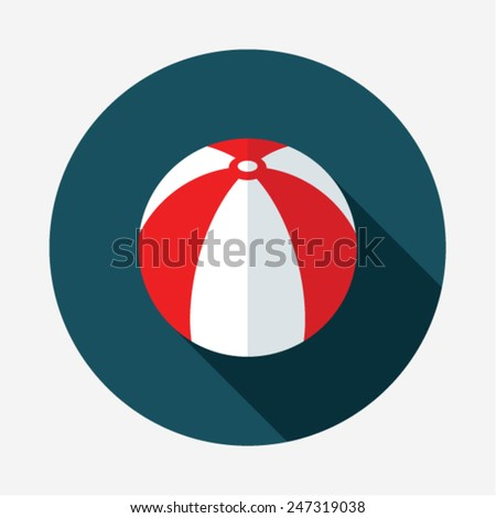 Beach ball. Single color flat icon. Modern Flat style with a long shadow - stock vector