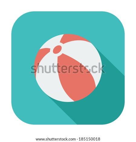 Beach ball. Single color flat icon. Vector illustration. - stock vector