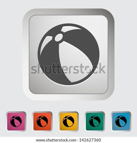 Beach ball. Single icon. Vector illustration. - stock vector