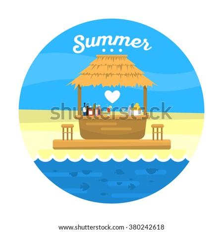 Beach Bar Bungalow / Flat Style Vector Illustration / Summer Holiday - stock vector