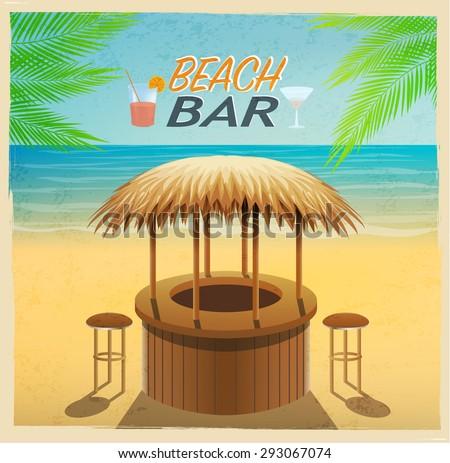beach bar on the coast, vector vintage poster - stock vector