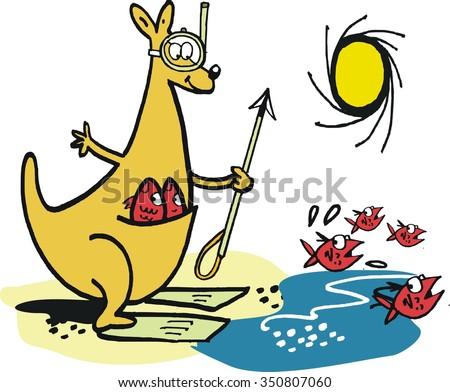 Beach cartoon showing enterprising kangaroo holding harpoon and spearing fish. - stock vector