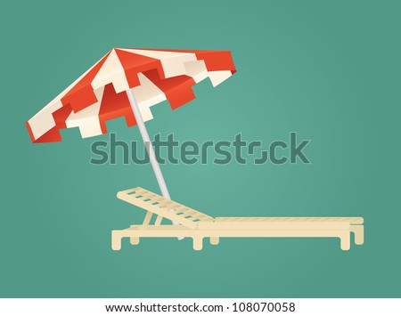 beach chair and umbrella - stock vector