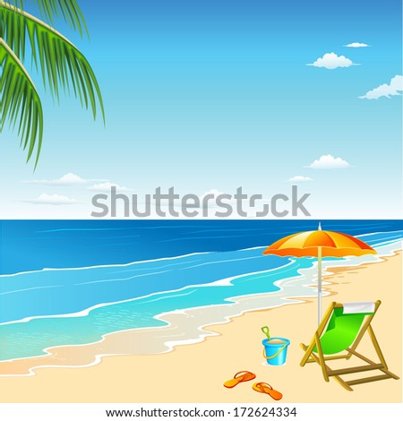 Beach chair and umbrella on sand beach. Vector background. - stock vector